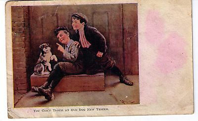 VINTAGE POSTCARD--1910's--YOU CAN'T TEACH AN OLD DOG NEW TRICK'S