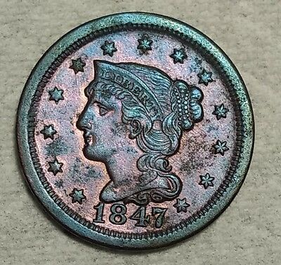 Uncirculated 1847 Large Cent! Lightly toned piece with lots of red!