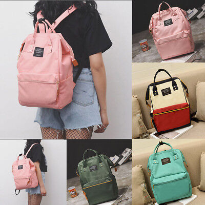 Men Women Vintage Nylon Backpack Rucksack School Satchel Travel Hiking Book Bag