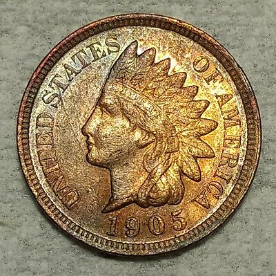 Brilliant Uncirculated 1905 Indian Head Cent! Sharp Red-Brown specimen!