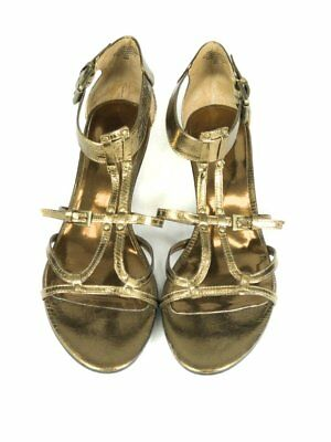 eff39444932c NEW NINE WEST Sandals Heels Womens Shoes Pink and Gold Sequin Size ...