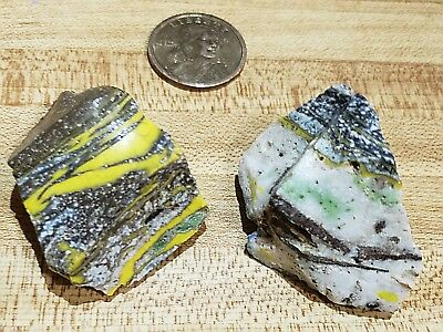 LOT of 2 Fossilized Swirls Vintage Akro Agate Marble Cullet Garden Glass