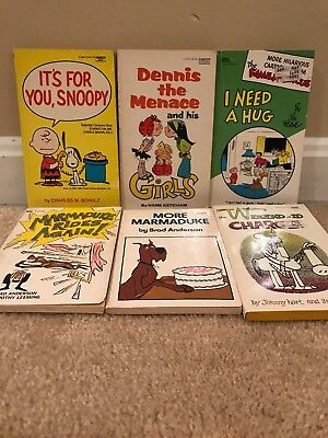 Lot Of 7 Vintage 1970s Books Snoopy, Dennis The Menace Marmaduke family circus