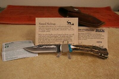Buck Knife Model 110Le-0 With Stag Handles & Partial Chip Flint Blade Nos/nib