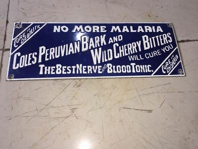 """PORCELAIN NO MORE MALARIA SIGN SIZE 16"""" x 6"""" Inches Pre-Owned"""