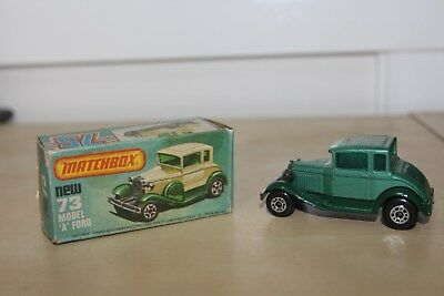 "Matchbox Car Vintage Model ""a"" Ford Green Two Tone Green # 73 In Original Box"