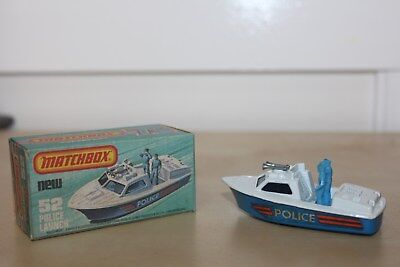 Matchbox Car Vintage Police Launch # 52 In Original Box