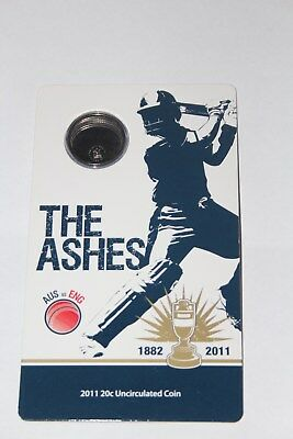 2011 20c CRICKET THE ASHES UNCIRCULATED COIN