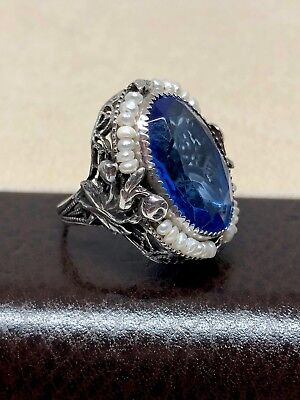 Sterling Silver Seed Pearl Art Nouveau Ring Sz 4 Vintage Antique Floral Blue