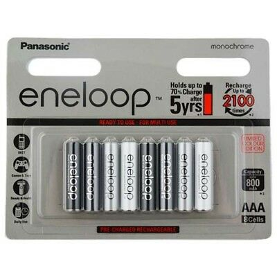 8x Panasonic Eneloop AAA Monochrome Rechargeable Ni-MH Batteries Ready to Use