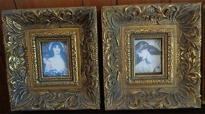 4 x Chunky Decorative Wooden Frames Floral Baroque Pattern Plaster Cast Wood