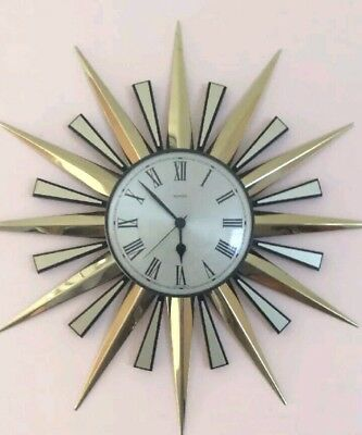 Vintage Retro Metamec Starburst Sunburst Wall Clock Fully Working Order - VGC