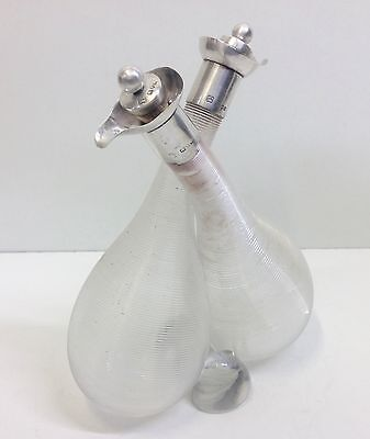 Solid Silver Top Conjoined Glass Oil & Vinegar Bottles Hukin & Heath London 1897