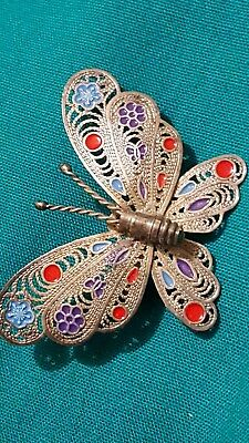 Antique silver filigree and enamel butterfly brooch/pendant
