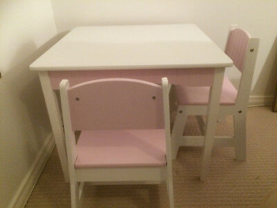 Childrens White Wooden Table and Chairs Set