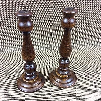 Lovely  PAIR OF VINTAGE WOODEN CANDLESTICKS - Antique - Tableware