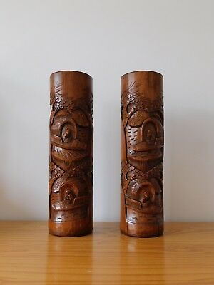 c.19th - Antique Chinese Hand Carved Pierced Bamboo Wood Wooden Vases Pair