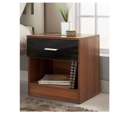 New Hugo Walnut Effect 1 Drawer Bedside Table High Gloss