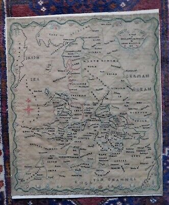 Fine 19Th Century Antique Needlework Sampler, Map Of England, Anne Holditch 1819