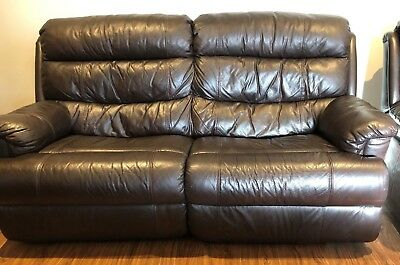 Leather Lounge Suite 1 x 3-seater, 2 x Recliners Quality