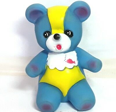 Baby bear squeaky toy figure doll figurine Blue Vintage Old Retro