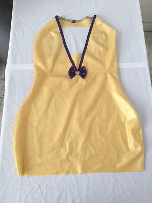 Latex Rubber Skirt Top Dress Fetish Pinup UK 14-16 Gold Purple Plunge