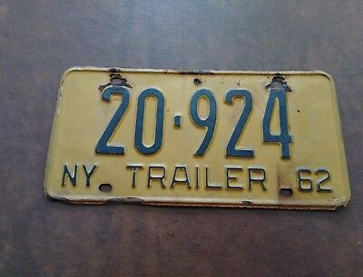 1962 New York Trailer License Plate 62 NY Tag 20-924