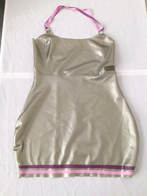 Latex Rubber Skirt Top Dress Fetish Pinup UK 10-12 Silver Lilac