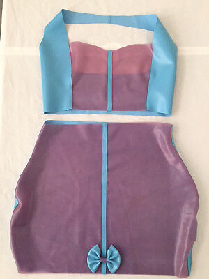 Latex Rubber Skirt Top Dress Fetish Pinup UK 12-14 Blue Lilac
