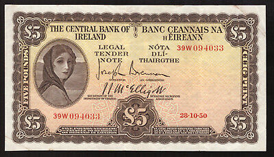 Central Bank of Ireland £5 Five Pounds 1950. Good VF, stains