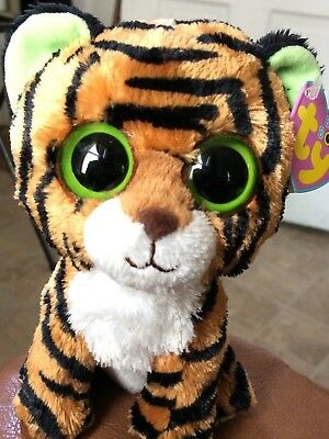 """Ty Beanie Boo Stripes the Tiger Cat 6""""  Plush Stuffed solid Eye Toy Retired WHTS"""