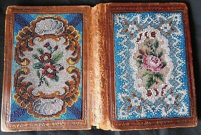 Antique 19Thc Moroccan Leather Notebook With Bead Work Covers Silk Lining Pencil