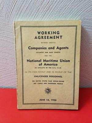 Vintage 1956 Working Agreement National Maritime Union Of America Member Book
