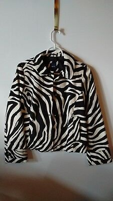 Gap Kids Girls XXL 14/16 Jacket Faux Fur Black White Zebra Print NWT