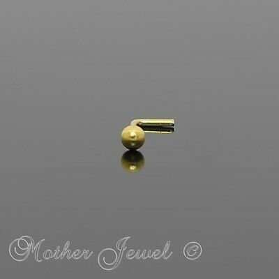 18K Yellow Gold On Solid Sterling Silver Micro Ball L Shaped Bend Bent Nose Stud