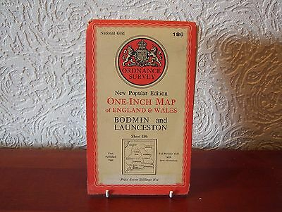 OS Map 1946 Bodmin and Launceston, Vintage, One Inch, sheet 186, Cloth