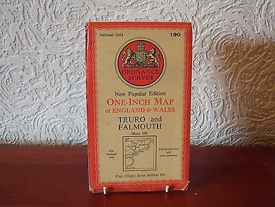 OS Map 1946 Truro and Falmouth, Vintage, One Inch, sheet 190, Cloth