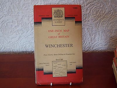 OS Map 1959 Winchester, 'Seventh Series', One Inch, sheet 168, Cloth