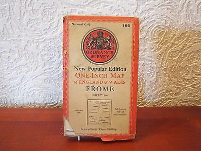 OS Map 1946 Frome, Vintage, One Inch, sheet 166, Cloth