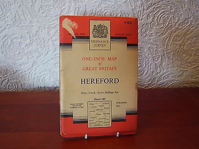 OS Map 1956 Hereford, Vintage, 'Seventh Series', One Inch, sheet 142, Cloth