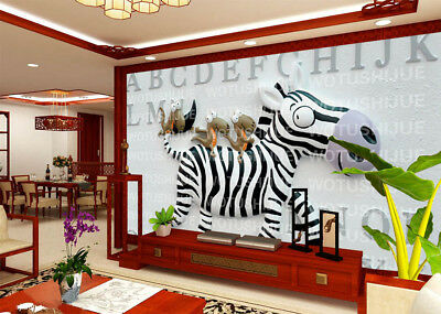 Expressions Of Zebra 3D Full Wall Mural Photo Wallpaper Printing Home Kids Decor
