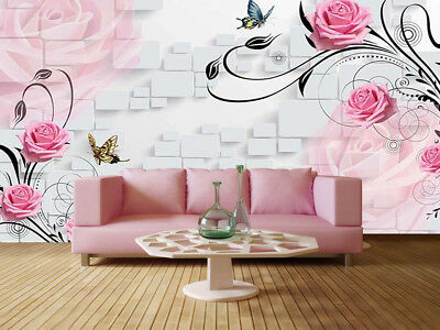 Butterfly Love Flowers 3D Full Wall Mural Photo Wallpaper Print Home Kids Decor
