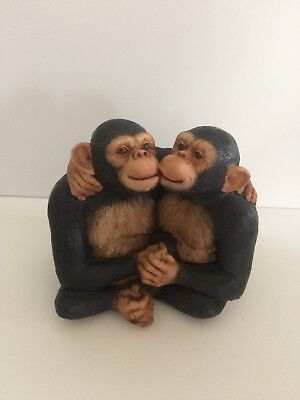 Vintage Kissing Monkeys Hugging, Resin, Black,