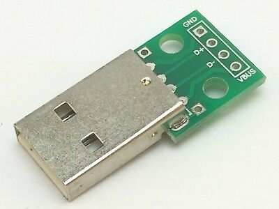 USB Adapter Platine | USB 2 Standard-A Stecker zu RM 2,54 | Breakout Board
