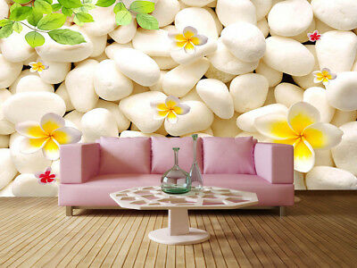 White Stone Flower 3D Full Wall Mural Photo Wallpaper Printing Home Kids Decor