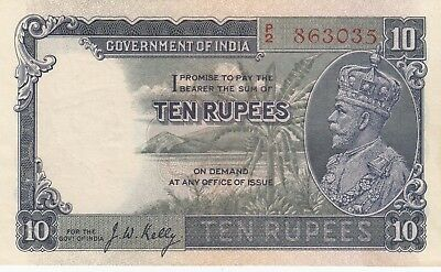 India 10 rupees KGV banknote. Very Rare in this XF-AU condition