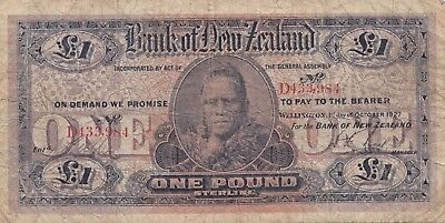 New Zealand  one pound 1927 banknote. Rare