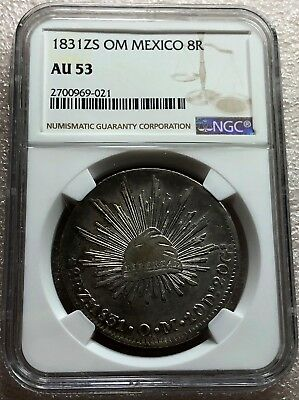 1831 Zs OM Mexico Cap & Rays 8 Reales NGC AU53 Almost Uncirculated Scarce