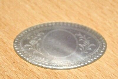 ANTIQUE MOTHER OF PEARL ARMORIAL GAMING COUNTER CHIP ~ Oval with Flower design