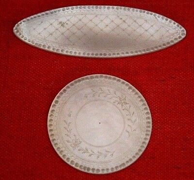 2 Antique Mother Of Pearl Armorial Gaming Counters Chips ~ Chinese Flowers